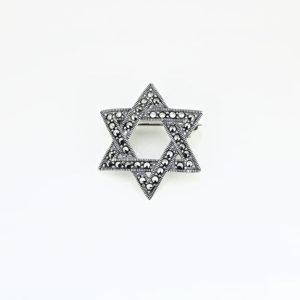 Brosa argint Stea cu marcasite - ICA0004