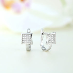 Cercei argint square cu pietre - ICE0014