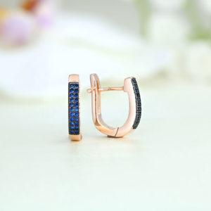 Cercei argint roz cu pietre albastre - ICE0018