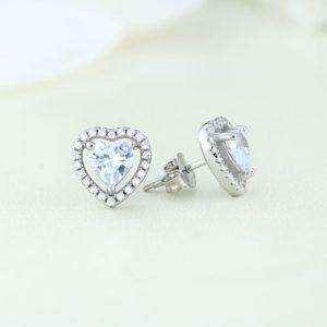 Cercei argint inima cu pietre - ICE0019