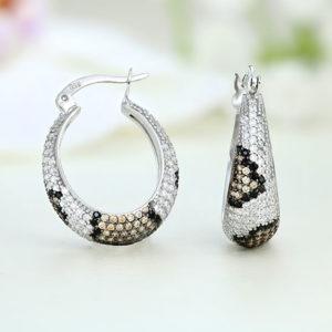 Cercei argint tigrati cu pietre - ICE0048