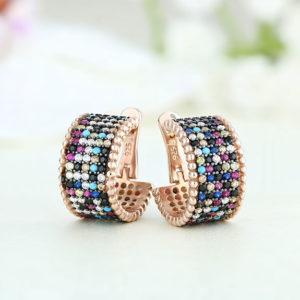 Cercei argint roz cu pietre Multicolor - ICE0052