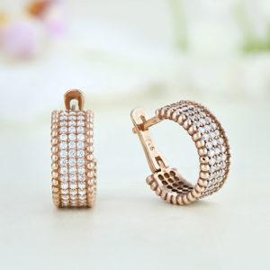 Cercei argint roz cu pietre - ICE0053