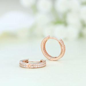 Cercei argint roz rotunzi cu pietre - ICE0067