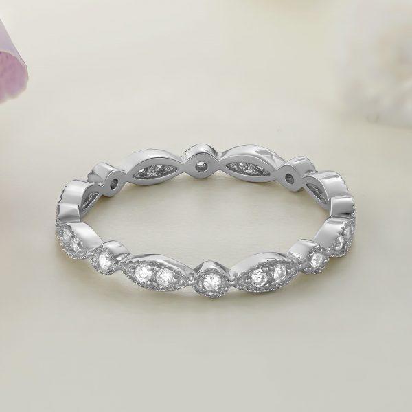 Inel argint Subtire Eternity cu pietre Fancy - ICR0003