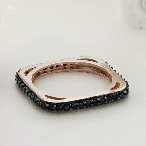 Inel argint Subtire roz cu pietre negre - ICR0015