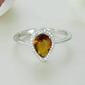 Inel logodna argint cu pietre Anturaj-Halo Lacrima Maro - ICR0019