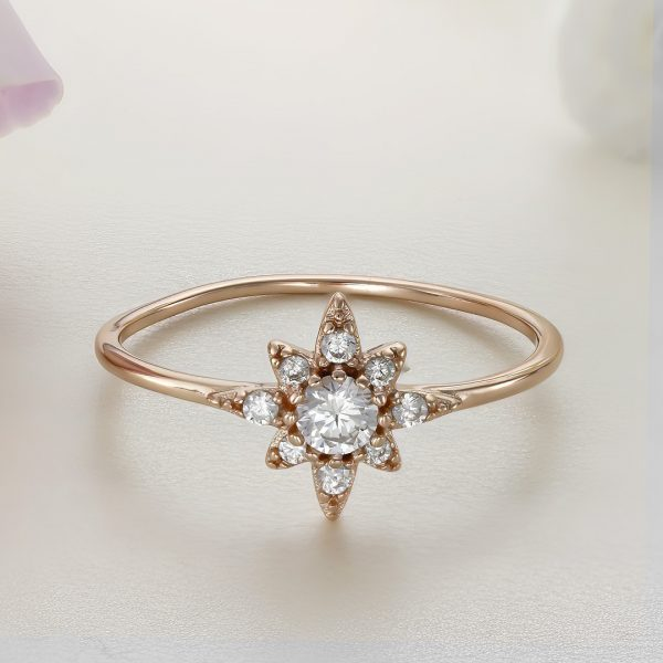 Inel argint Subtire Stea roz cu pietre - ICR0020