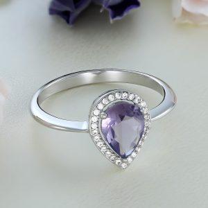 Inel logodna argint cu pietre Anturaj-Halo Lacrima Mov - ICR0021