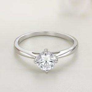 Inel logodna argint cu piatra zirconiu Solitar - ICR0037