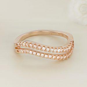 Inel argint roz cu pietre Semi Eternity - ICR0044