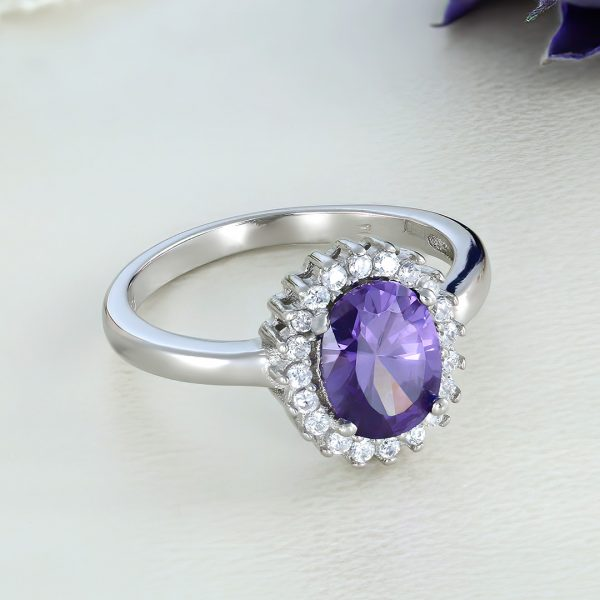 Inel logodna argint cu pietre Anturaj-Halo Mov - ICR0045