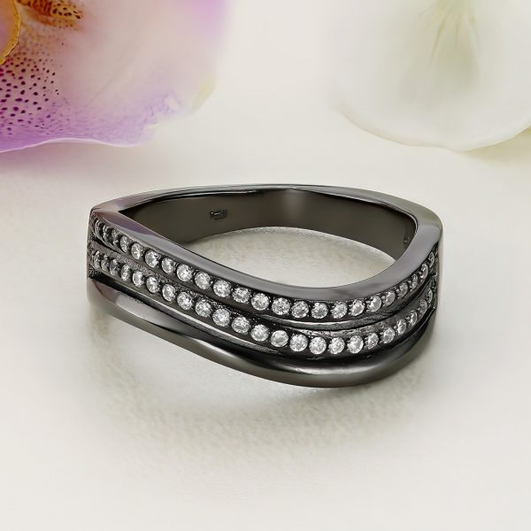 Inel argint negru cu pietre Semi Eternity - ICR0049