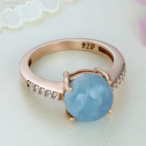 Inel argint roz cu piatra Albastru Calcedonia cu pietre laterale - ICR0067