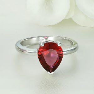 Inel argint cu piatra Lacrima Rosie Zirconiu Solitar - ICR0081