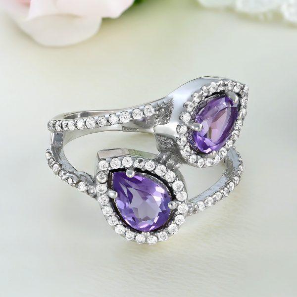 Inel argint Lacrimi Mov cu pietre laterale - ICR0096