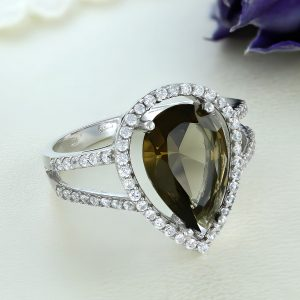 Inel argint cu piatra mare Lacrima si pietre laterale - ICR0107