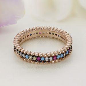 Inel argint Eternity roz cu pietre colorate - ICR0129