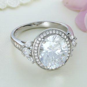 Inel argint cu pietre Anturaj-Halo Albastru - ICR0141