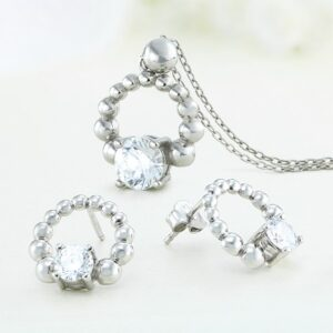 Set bijuterii argint cu pietre Tea - ICS0036