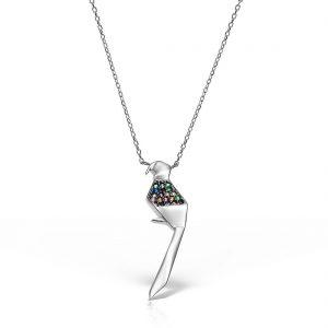 Colier argint cu pietre 45 cm Pasare Papagal - MCN0005