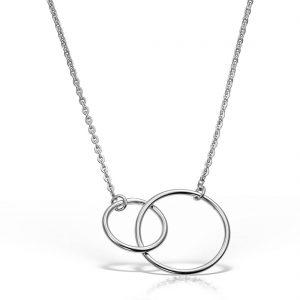 Colier argint fara pietre 44 cm Cercuri - MCN0008