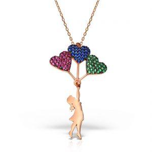 Colier argint Roz cu pietre 42 cm colorate Fetita cu baloane inimi - MCN0027