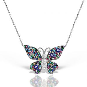 Colier argint cu pietre 44 cm colorate Fluture - MCN0030