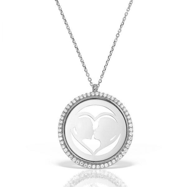 Colier argint cu pietre 41 cm Indragostiti Heart & Kiss - MCN0042