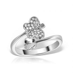 Inel argint reglabil cu pietre Fluturas - MCR0027