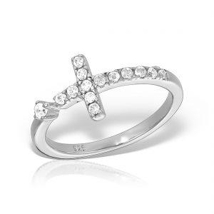 Inel argint Cruce cu pietre - MCR0058