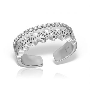 Inel argint reglabil cu pietre Trandafiri - MCR0087