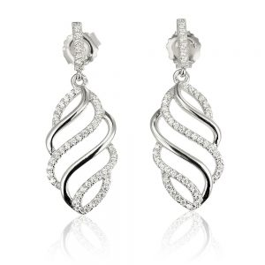 Cercei argint Surub Drop Earrings Zirconii TRSE031, Bijuterii - Corelle