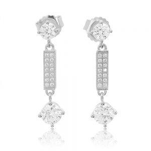Cercei argint Surub Drop Earrings Zirconii TRSE034, Bijuterii - Corelle
