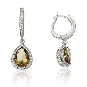 Cercei argint Latch Back Drop Earrings Zirconii TRSE037, Bijuterii - Corelle