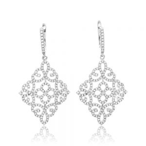Cercei argint Latch Back Drop Earrings Zirconii TRSE058, Bijuterii - Corelle