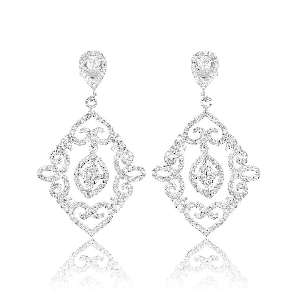 Cercei lungi argint Surub Drop Earrings Zirconii TRSE113, Bijuterii - Corelle