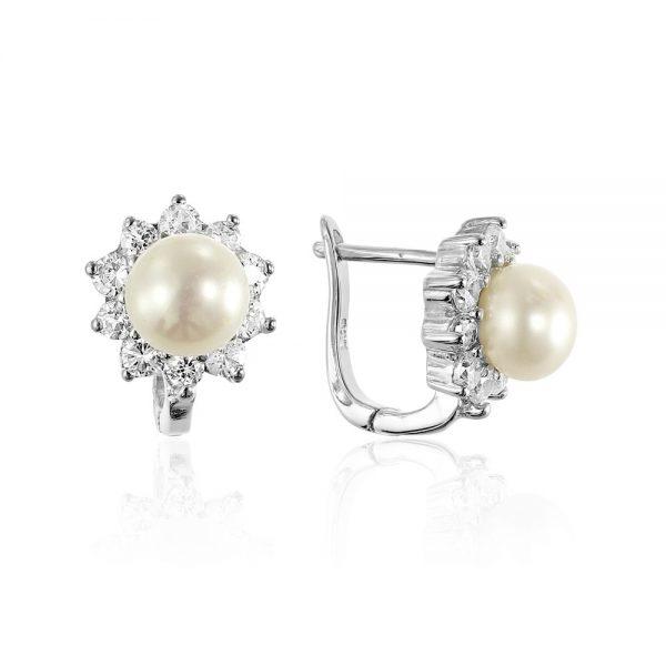 Cercei argint Latch Back Drop Earrings Zirconii si Perla TRSE159, Bijuterii - Corelle