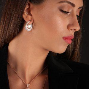 cercei argint perla latchback . trse161_2 . Bijuterii argint Corelle