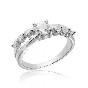 Inel de logodna argint cu cristale TRSR002, Bijuterii - Corelle