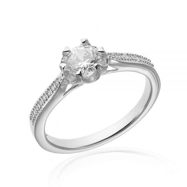 Inel de logodna argint Solitar cu cristale laterale TRSR007, Corelle