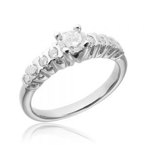 Inel de logodna argint Solitar cu cristale mici laterale TRSR018, Corelle