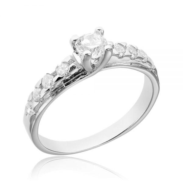 Inel argint Solitar cu cristale mici laterale TRSR019, Corelle