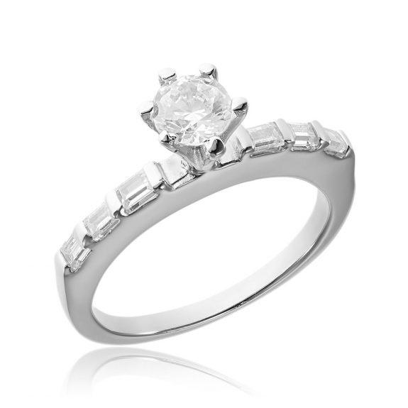 Grup de doua inele logodna argint cu cristale TRSR045, Corelle