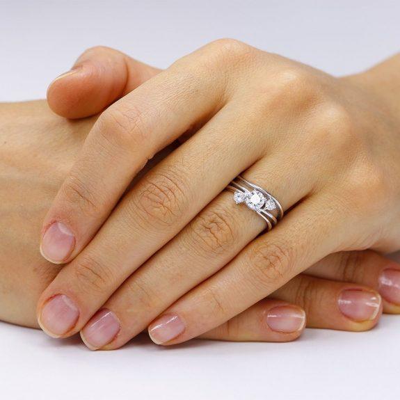 Inel de logodna argint cu 3 cristale si sant TRSR048, Bijuterii - Corelle