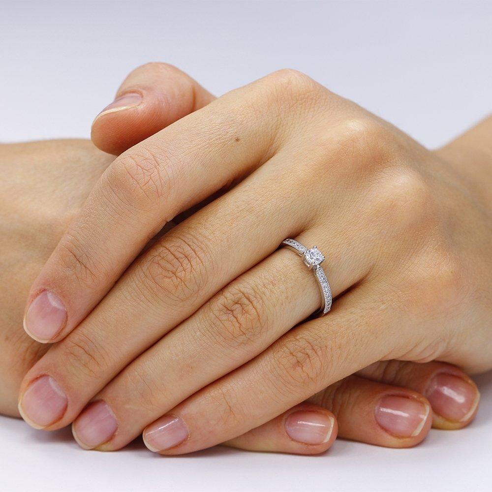 Inele de logodna. Inel de logodna argint Solitar cu cristale laterale mici TRSR065, Corelle