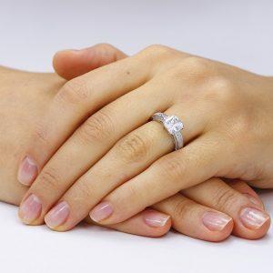 Inel de logodna argint Princess Solitar cu cristale TRSR066, Corelle