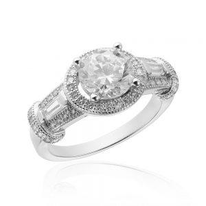 Inel de logodna argint Solitar cu cristale model anturaj TRSR070, Corelle