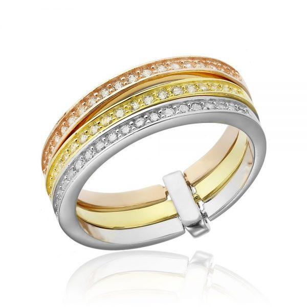 Grup de 3 inele argint Semi Eternity cu cristale TRSR076, Corelle