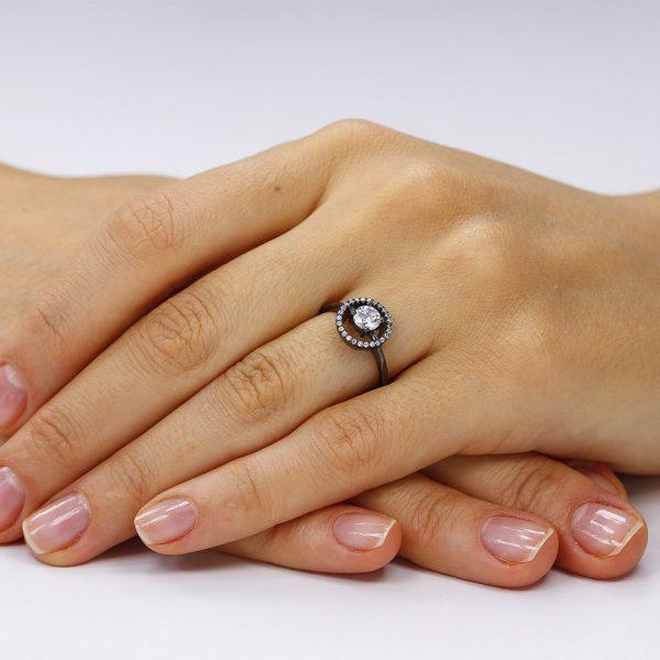 inel argint black rhodium . TRSR082